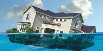 Depiction of a home partially underwater