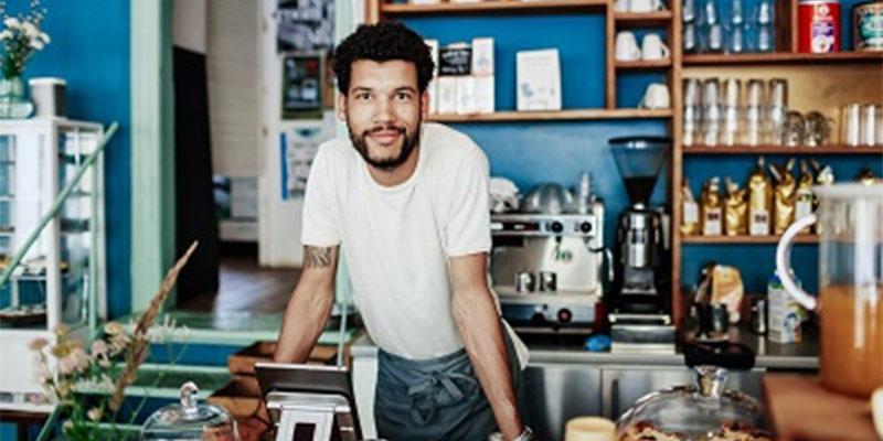 Self-employed man posing at home