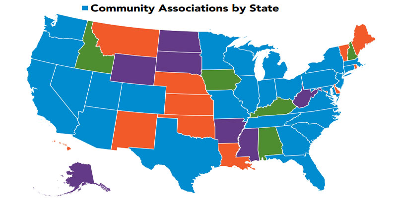 Map of the United States representing real estate community associations by state