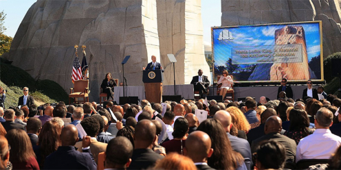 President Biden giving a speech commemorating the 10th anniversary of the Martin Luther King Jr. Memorial in Washington, D.C.